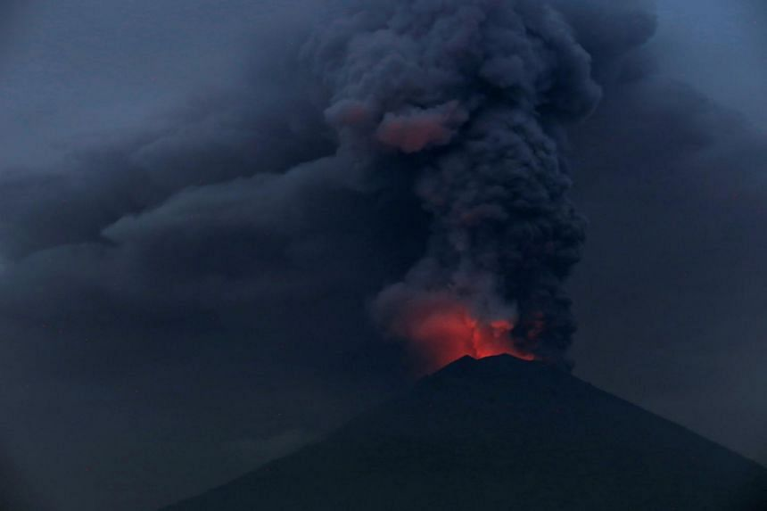 Glowing light of hot lava during the eruption of Mount Agung as seen from Amed in Karangasem, Bali, Indonesia, on Nov 27, 2017.