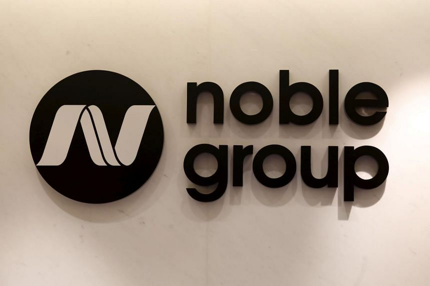 The company logo of Noble Group displayed at its office in Hong Kong.