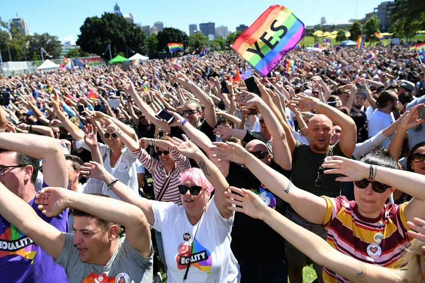 People celebrate after watching the same sex marriage vote result  announcement during a picnic at Prince