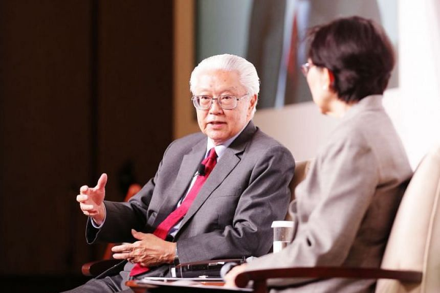 Dr Tony Tan speaking during a question-andanswer session moderated by Ambassadorat- Large Chan Heng Chee yesterday.