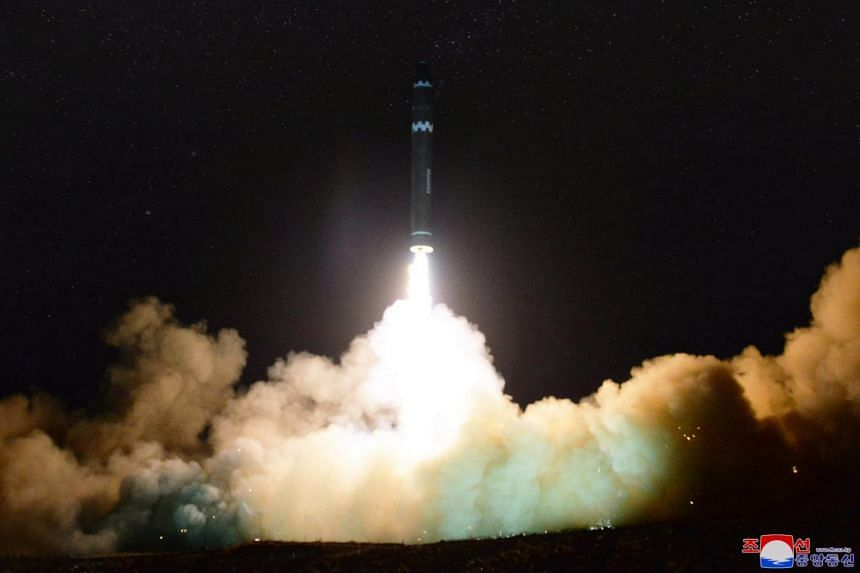 The launch of the newly developed inter-continental ballistic missile Hwasong-15 from an undisclosed location in North Korea.