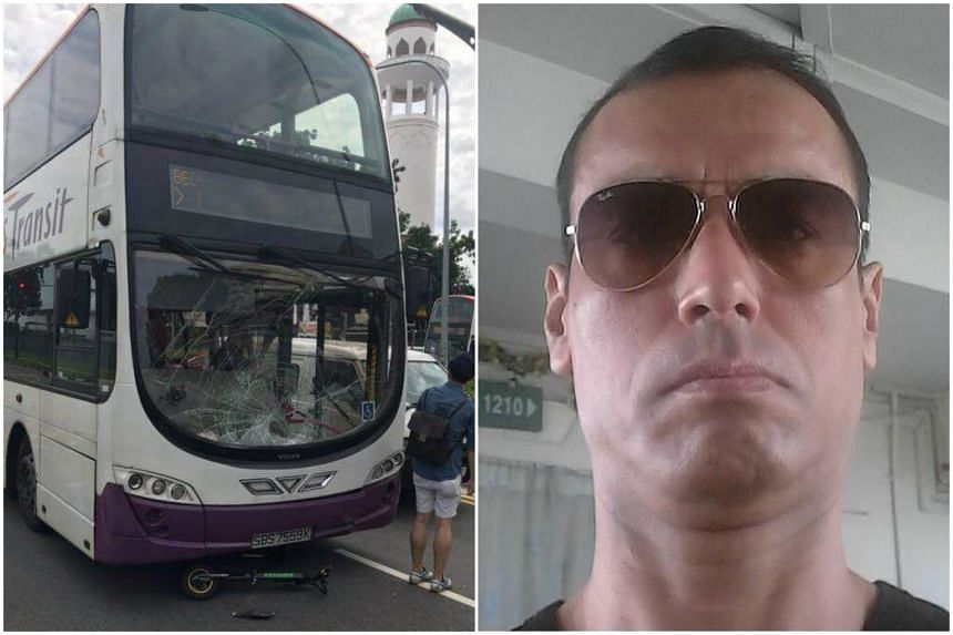E-scooter rider Mr Atan Amat suffered head injuries and was taken unconscious to hospital after he was involved in an accident with an SBS Transit double-decker bus.