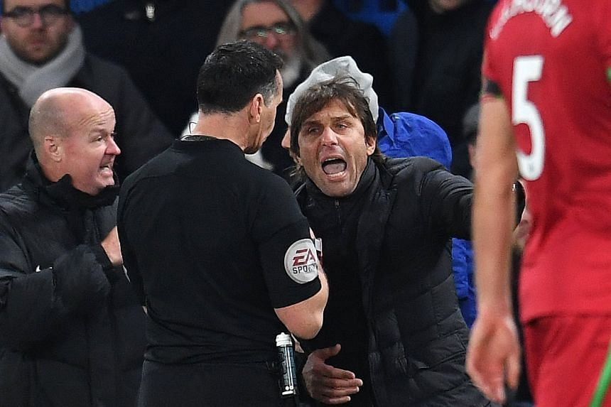 Conte is sent to the stands after remonstrating with referee Neil Swarbrick, Nov 29, 2017.