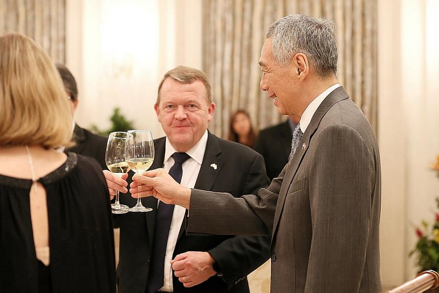 Danish Prime Minister Lars Lokke Rasmussen with Prime Minister Lee Hsien Loong at the Istana yesterday.