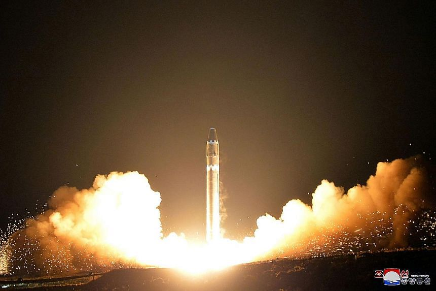 The launch of the Hwasong-15 missile on Wednesday, seen here in a photo released by the Korean Central News Agency yesterday, has raised tensions. The missile is capable of reaching the US mainland.