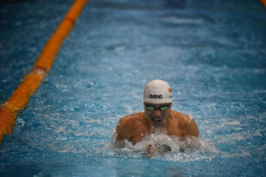 Lionel Khoo during the 50m breaststroke event on Dec 1, 2017.