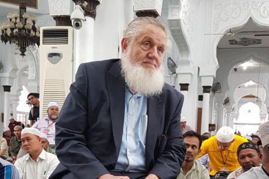 American Muslim preacher Yusuf Estes at the Baiturrahman Grand Mosque in Banda Aceh.