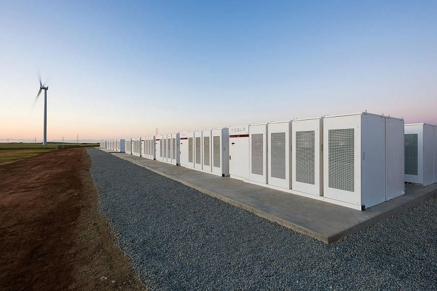 Tesla Powerpacks are seen in Hornsdale, Australia. The system can provide electricity for more than 30,000 homes.