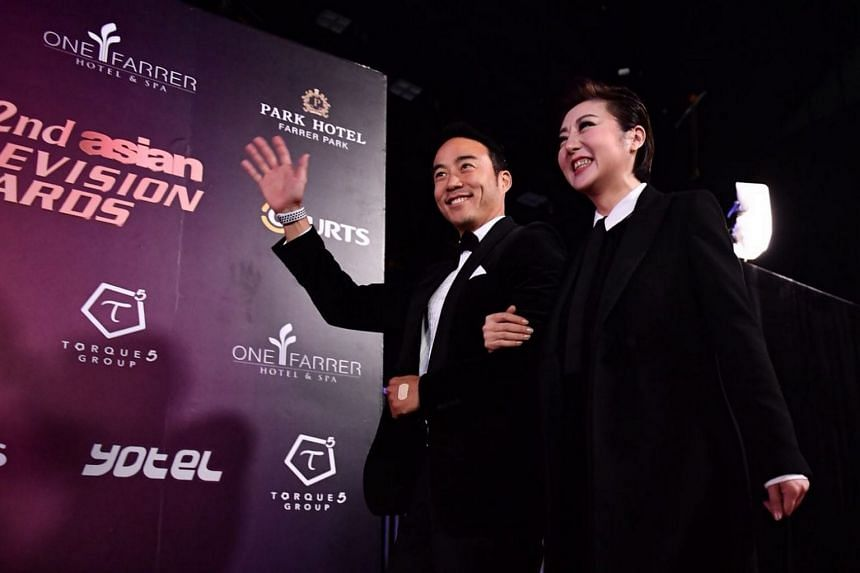 Singapore celebrities Allan Wu and Quan Yifeng arriving for the 22nd Asian Television Awards at Suntec Singapore Convention & Exhibition Centre.