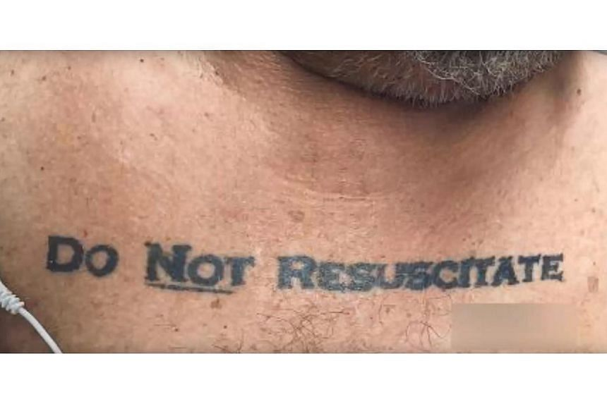 """A Florida hospital faced an unsettling ethical quandary when paramedics brought in an unconscious patient with """"Do Not Resuscitate"""" tattooed across his chest."""