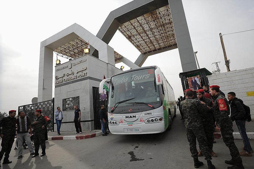 Hamas forces outside the Rafah border crossing with Egypt in Gaza on Nov 18. Early last month, Hamas handed over control of the border to the Fatah-controlled Palestinian Authority as part of a reconciliation deal, signed in Cairo under Egyptian supe