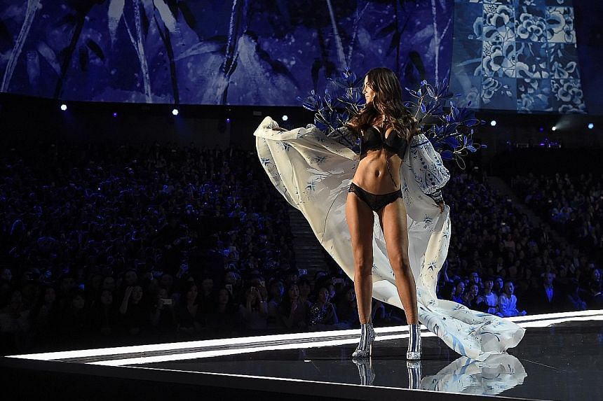 US model Lily Aldridge during the 2017 Victoria's Secret Fashion Show in Shanghai. Victoria's Secret has long framed its show as being about female empowerment: Women owning their sexuality, facilitating their fantasies. But by presenting women as, w