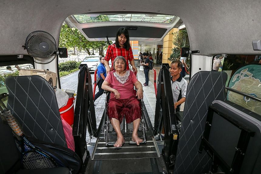 The ready availability of wheelchair-accessible vehicles remains challenging for centres with clients like Madam Pang Guay Lian, who is lifted in her wheelchair into a retrofitted van with special hydraulic lifts whenever she goes for rehabilitation.