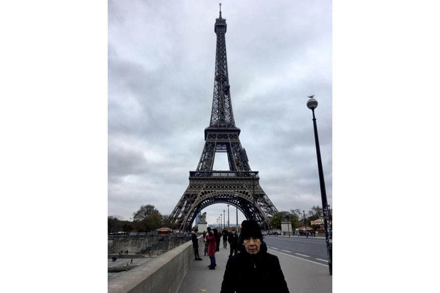 Mr Sum Kin Nar visited the real Eiffel Tower thanks to a Straits Times reader who asked not to be named.