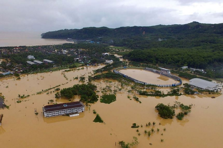 An aerial photo taken on Nov 30, 2017, shows flooding in the town of Pacitan in East Java province.