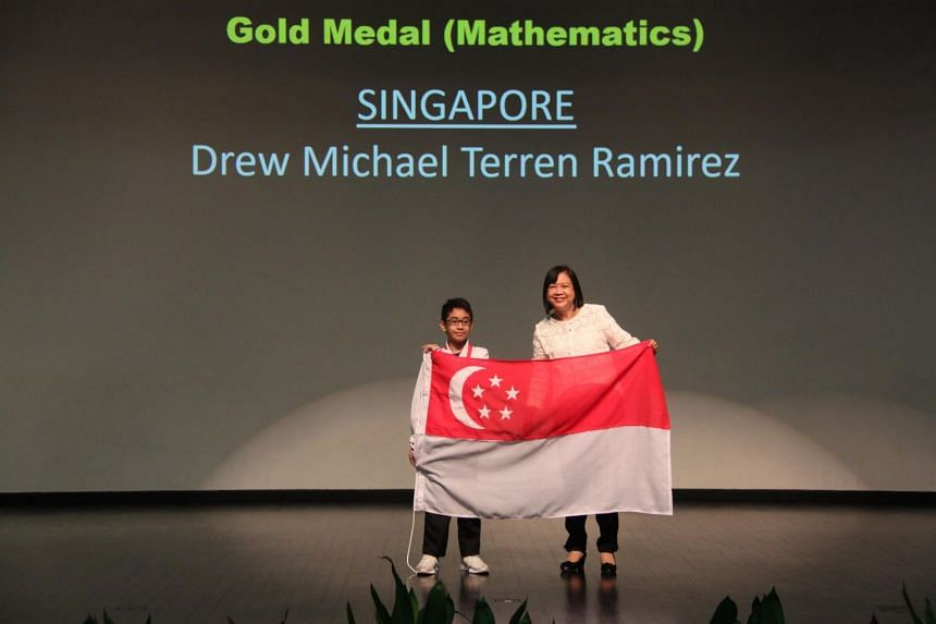 Drew Michael Terren Ramirez from St. Hilda's Primary School, won both Best Overall in Mathematics and a Gold medal for Team Singapore at the 14th IMSO.
