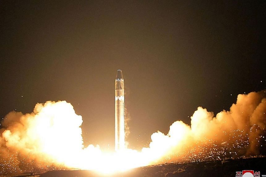 The launch of the Hwasong-15 missile as captured by Korean Central News Agency last Wednesday.