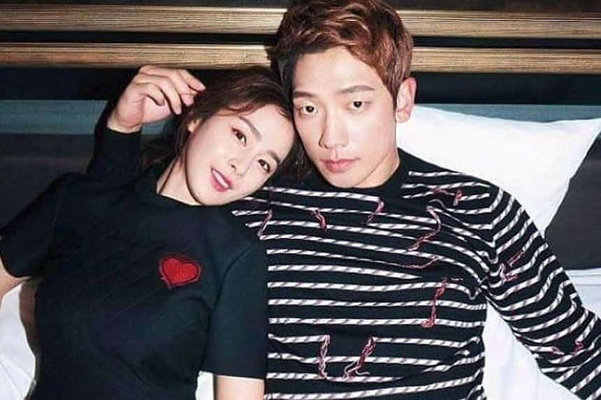 Singer-actor Rain, who is married to actress Kim Tae Hee (both above), became a father in October.