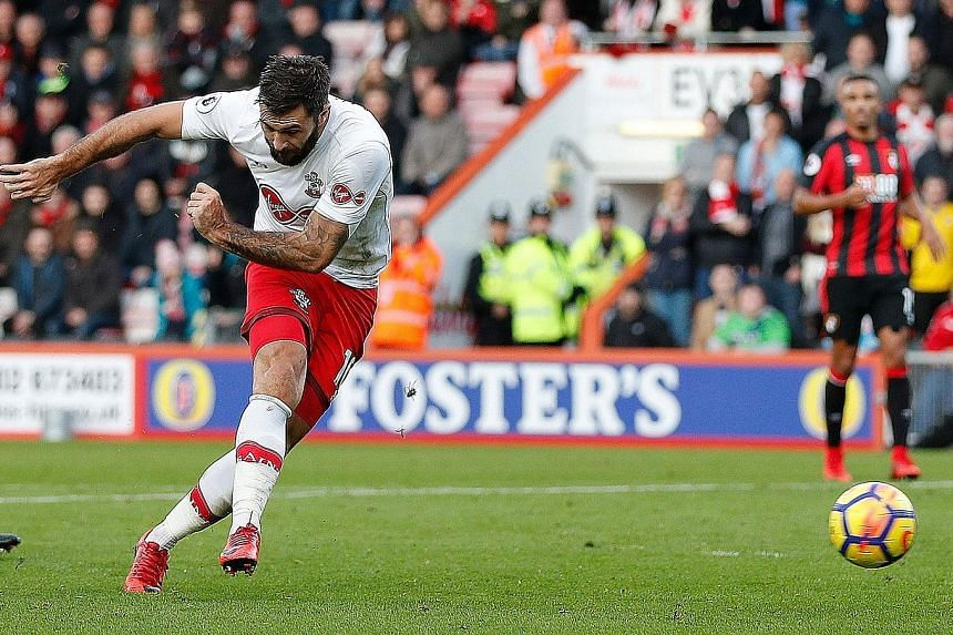 Southampton striker Charlie Austin converting a Nathan Redmond cross in the 61st minute to cancel out Bournemouth winger Ryan Fraser's first-half opener. The English Premier League match ended 1-1, as the south coast clubs shared the spoils at the Vi