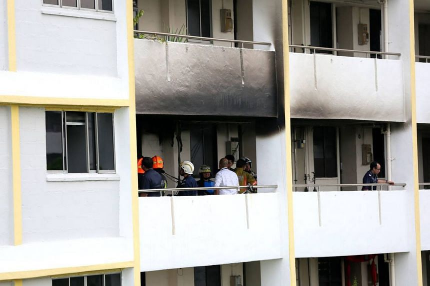 A fire broke out at a flat on the ninth floor at Block 99, Aljunied Crescent on Dec 4, 2017.