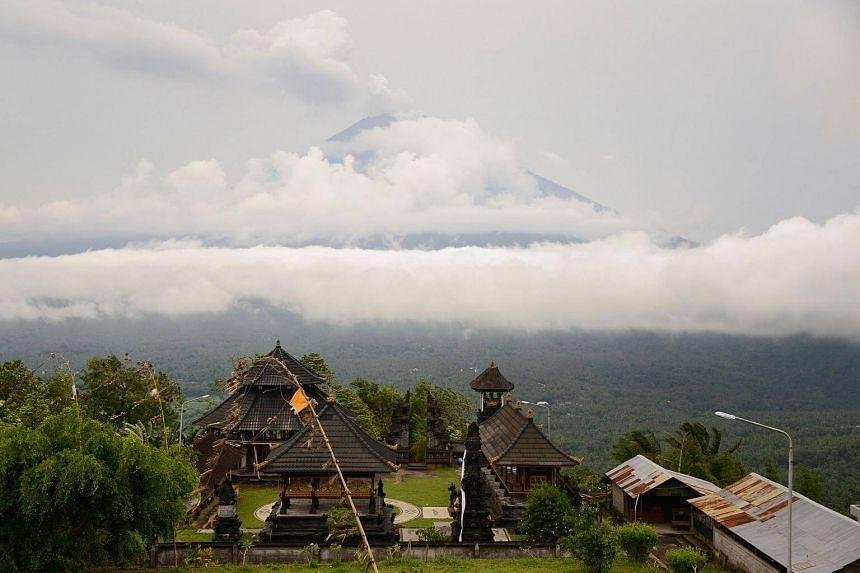 The smoldering Mount Agung volcano in Karangasem Regency on Bali, Indonesia.