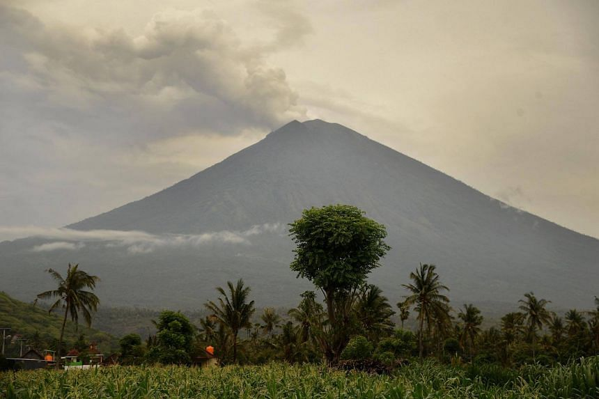 Smoke coming from Mount Agung volcano on Bali, Indonesia, on Dec 1.