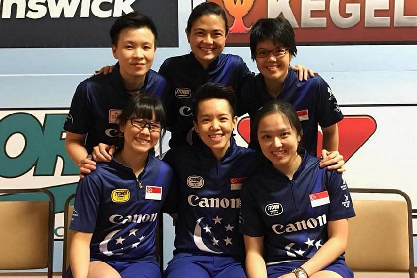 (Clockwise from top left) New Hui Fen, Daphne Tan, Cherie Tan, Jazreel Tan and Shayna Ng at the 2017 Women's World Bowling World Championships.