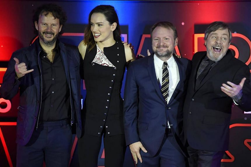 (From left to right) Israeli film producer, Ram Bergman; British actress, Daisy Ridley, US film director, Rian Johnson and US actor Mark Hamill posing for photographers during a red carpet in Mexico City on Nov 20, 2017.