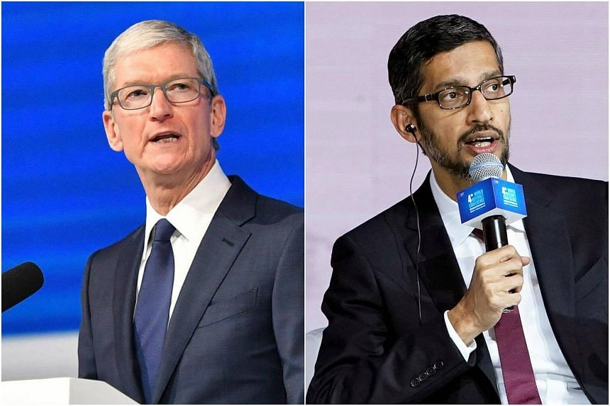 Apple Inc's Tim Cook (left) and Google's Sundar Pichai made their first appearances at China's World Internet Conference.