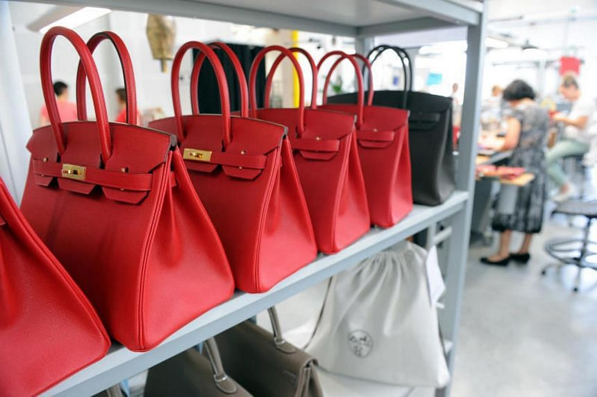Hermes Birkin bags on display at the Maroquinerie de la Tardoire, a Hermes workshop specialised in products made with calfskin, in Montbron, France.