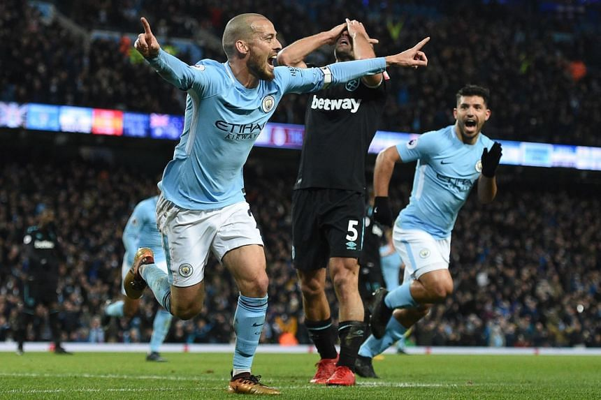 Manchester City's David Silva celebrating scoring his team's second goal against West Ham United during their EPL match on Dec 3, 2017.