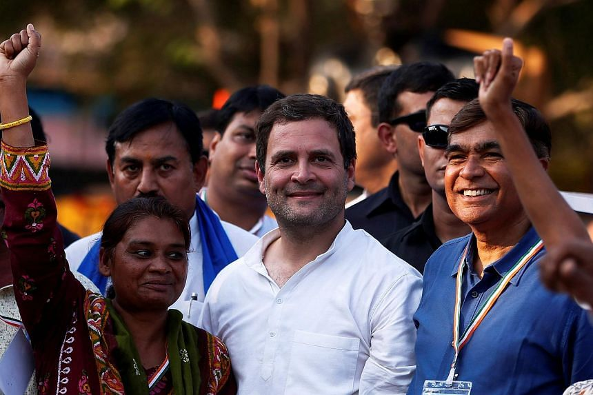 Congress Party vice-president Rahul Gandhi (centre) filed his candidacy for the top leadership spot on Dec 4, 2017.