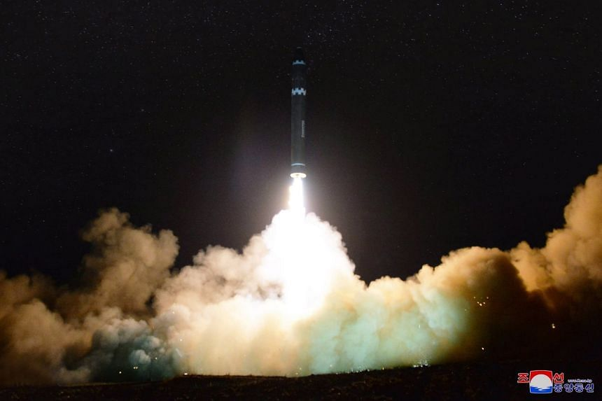 A picture released by North Korea's KCNA showing the launch of the new intercontinental ballistic missile Hwasong-15 on Nov 29, 2017.