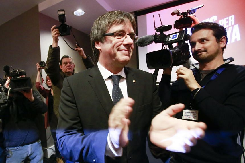 Puigdemont gives a press conference to launch his campaign for the Catalan regional elections, Nov 25, 2017.
