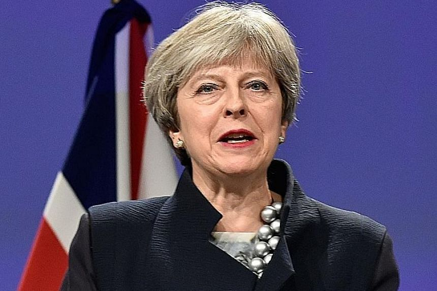 British Prime Minister Theresa May at yesterday's Brexit meeting.