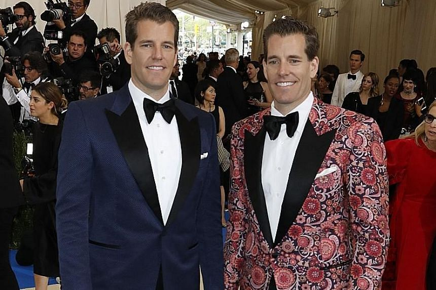 Identical twins Tyler and Cameron Winklevoss' US$11 million (S$15 million) bet on bitcoin in 2013 has paid off hugely, with the cryptocurrency having soared over 10,000 per cent after last week's price surge.