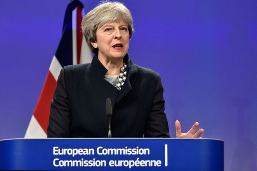 British Prime Minister Theresa May gives a speech at a Brexit negotiations meeting, on Dec 4.