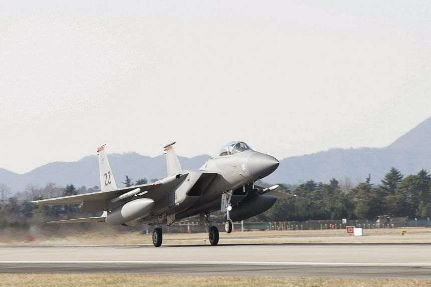 An F-15 from Kadena Air Base, Japan, arriving to participate in Vigilant ACE at Gwangju Air Base, South Korea, on Dec 1.
