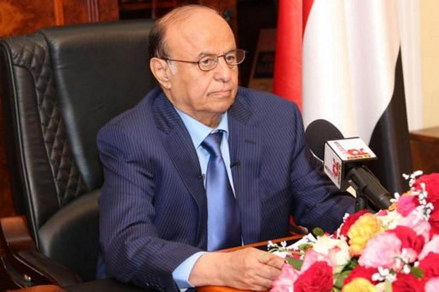 Yemen's exiled president Abedrabbo Mansour Hadi delivering a speech in the southern city of Aden on March 21, 2015.