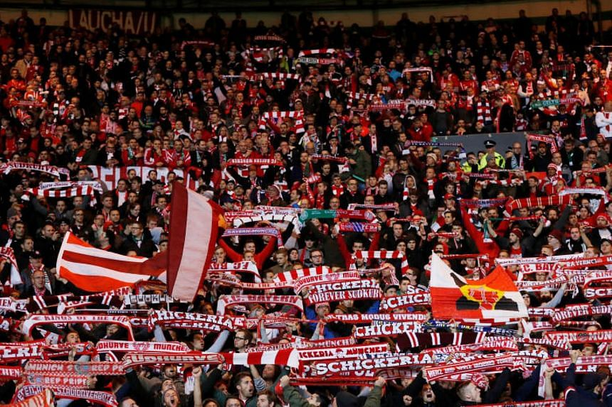 Bayern Munich fans watch a Champions League match against Celtic at Celtic Park in Glasgow on Oct 31, 2017.