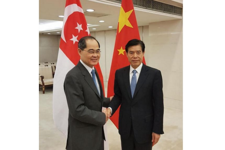 Minister for Trade and Industry (Trade) Lim Hng Kiang (left) and China's Minister of  Commerce Zhong Shan at the 5th Singapore-China Investment Promotion Committee Meeting.
