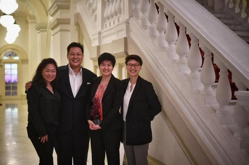(From left) Barista Josephine Teo, head trainer Shaun Ong, founder Pamela Chng and barista Celine Oh from Bettr Barista with their award at the Istana.