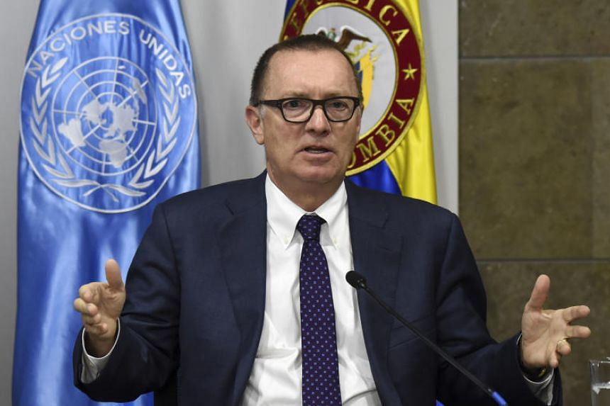 UN under secretary general for political affairs Jeffrey Feltman attends a press conference in Bogota on Nov 15, 2017.