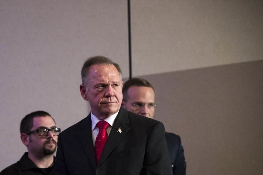 Republican candidate for US Senate Judge Roy Moore at a news conference with supporters and faith leaders, on Nov16, 2017 in Birmingham, Alabama.
