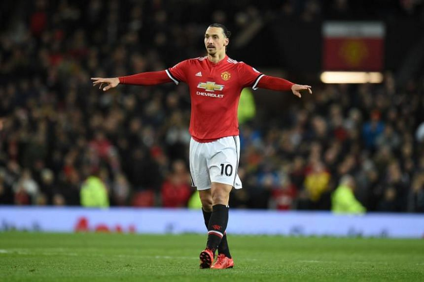 Manchester United's Swedish striker Zlatan Ibrahimovic gestures during the EPL football match between Manchester United and Newcastle at Old Trafford in Manchester, north west England, on Nov 18, 2017.