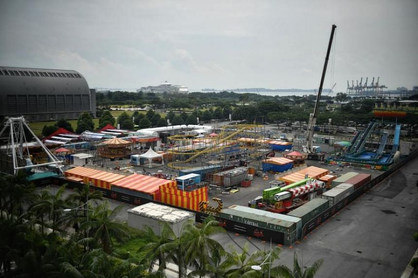 An aerial view of Marina Bay Carnival taken from the fifth floor of Marina Bay Sands.