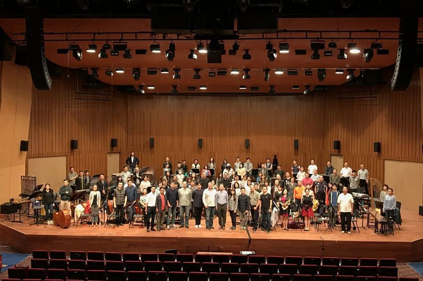 The Singapore Chinese Orchestra testing acoustics of the new Concert Hall at the revamped Singapore Conference Hall.