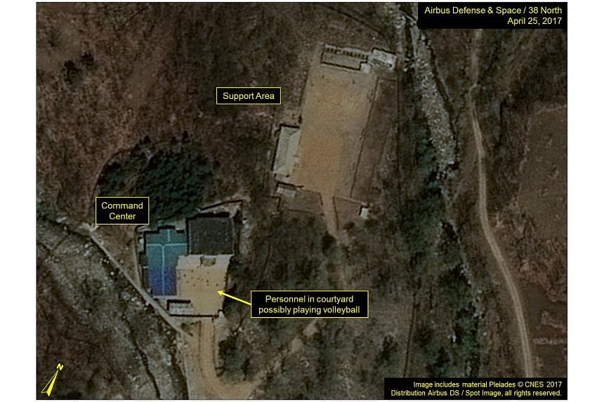 Commercial satellite imagery of the Punggye-ri Nuclear Test Facility in an image from April 25, 2017, which 38 North says indicates an apparent resumption of activity in North Korea.
