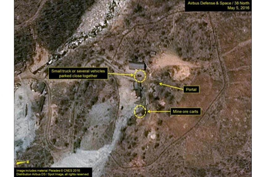 The Punggye-ri test site in North Korea is seen in an image from Airbus Defense and Space and 38 North taken on May 5, 2016.