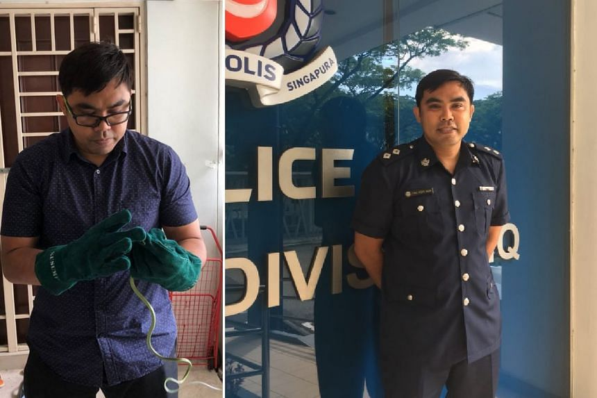 Inspector Fariz Mohd Noor was praised by his neighbour Yvonne Wong for helping her catch a snake in her home.